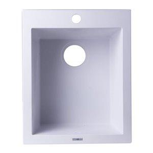 ALFI Brand 17-in White Drop-In Rectangular Granite Composite Kitchen Prep Sink