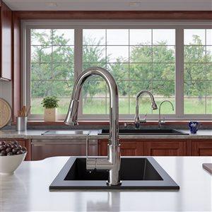 ALFI Brand 17-in Black Undermount Rectangular Granite Composite Kitchen Prep Sink