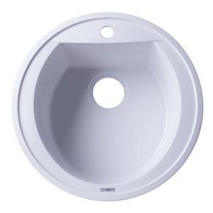 ALFI Brand 20-in White Drop-In Round Granite Composite Kitchen Sink