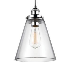 Feiss Baskin Polished Nickel Cone Pendant Light