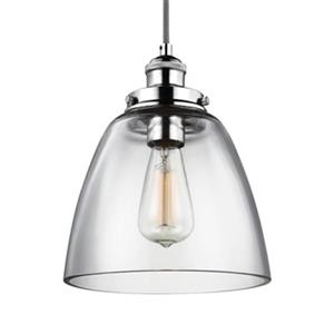 Feiss Baskin Polished Nickel Dome Pendant Light