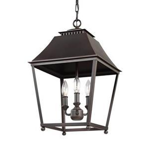 Feiss Galloway 3-Light Dark Antique Copper Pendant Light