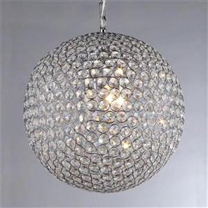Warehouse of Tiffany 16-in x 23-in Chrome Ginny Crystal Globe 4-Light Pendant Light