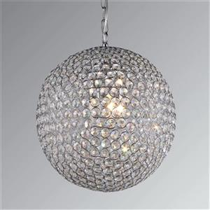 Warehouse of Tiffany 12-in x 23-in Chrome Gertrude Crystal Globe 3-Light Pendant Light