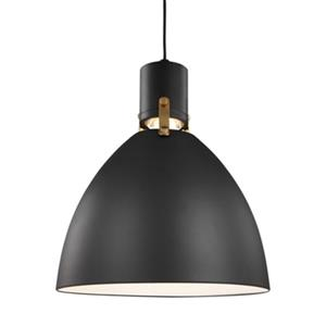 Feiss Brynne Collection 14-in x 17-in Matte Black Bell LED Pendant Light