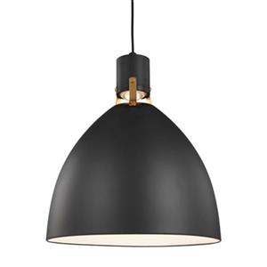 Feiss Brynne Collection 16.5-in x 19-in Matte Black Bell LED Pendant Light