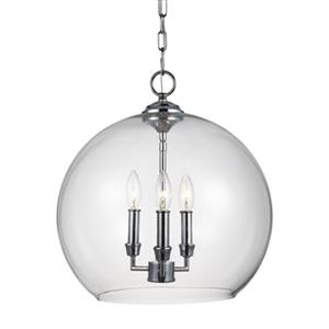 Feiss Lawler Collection 16-in x 16.75-in Chrome Globe 3-Light Pendant Light