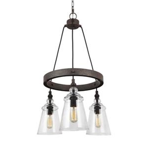 Feiss Loras Collection 18.88-in x 31.125-in Dark Weathered Iron 3-Light Pendant Light