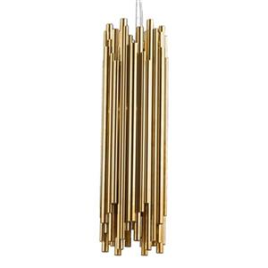 Design Living 7.6-in x 25.5-in Gold Steel Rod Pendant Light