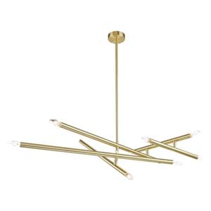 Design Living 63-in x 8.6-in Brass 10-Light Rod Stick Pendant Light