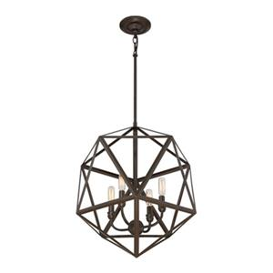 Quoizel Liberty Park Collection 18-in x 22-in Bronze Cage 4-Light Pendant Light