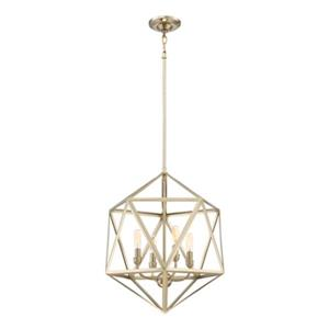 Quoizel Liberty Park Collection 18-in x 22-in Gold Cage 4-Light Pendant Light