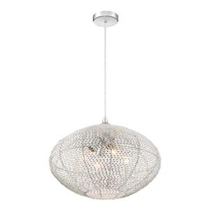 Quoizel Tango Collection 19.6-in x 14.5-in Polished Chrome Globe 4-Light Pendant Light