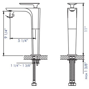 ALFI Brand Polished Chrome Tall Single Hole Modern Bathroom Faucet