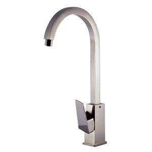 ALFI Brand Gooseneck Brushed Nickel Single Hole Bathroom Faucet