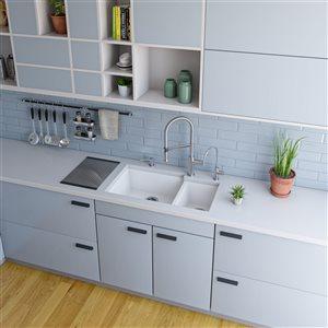 ALFI Brand 33.88-in x 19.13-in White Double Bowl Undermount Granite Composite  Kitchen Sink