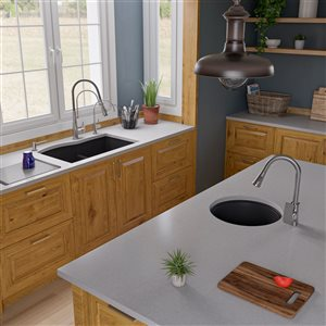 ALFI Brand 33-in x 20.75-in Black Double Bowl Undermount Granite Composite Kitchen Sink