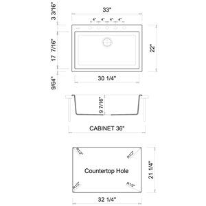 ALFI Brand 33-in x 22-in White Single Bowl Drop-In Granite Composite Kitchen Sink