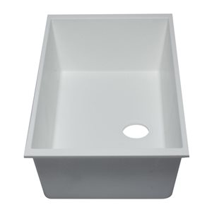 ALFI Brand 33-in x 19.38-in White Single Bowl Undermount Granite Composite Kitchen Sink