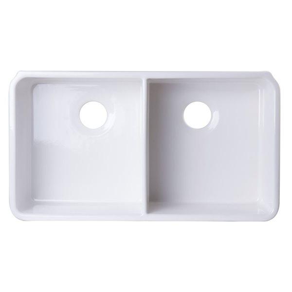 Alfi Brand 32 In X 18 In White Double Bowl Fireclay Undermount Kitchen Sink Lowe S Canada