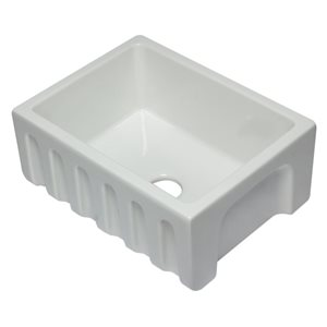 ALFI Brand 24-in x 18.13-in White Reversible Smooth/Fluted Single Bowl Fireclay Farm Sink