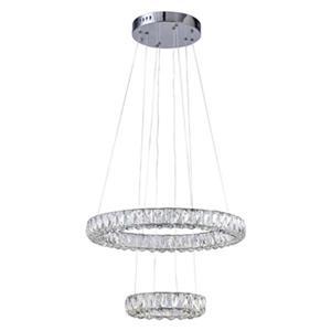 Design Living Chrome Two-Tier LED Crystal Rings Pendant