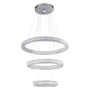 Design Living Chrome Three-Tier LED Crystal Rings Pendant