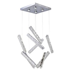 Design Living LED Crystal Stick Chrome Pendant