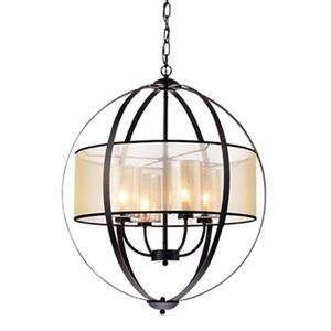 Warehouse of Tiffany Bastien Bronze/White Metal/Fabric  4-Light Globe Pendant Light