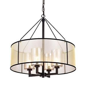 Warehouse of Tiffany Sarina Oil Rubbed Bronze 4-Light Pillar Glass Pendant Light