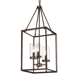 Warehouse of Tiffany Jerling Bronze Metal/Glass  3-Light Cage Pendant Light