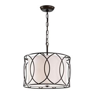 Warehouse of Tiffany Gisnao Tan 3-Light Caged Drum Pendant Light
