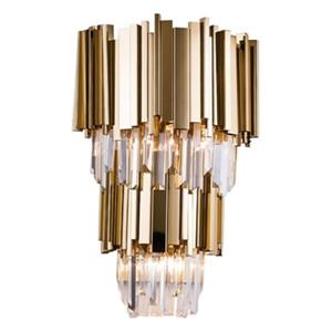 Bethel International 3-Light Two-Tier Gold Rod Wall Sconce