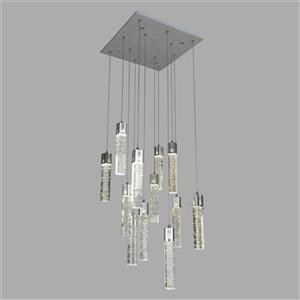 Design Living Chrome Square Crystal Multi Pendant Light