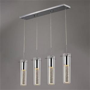 Design Living Chrome Glass Cylinder Pendant Lighting