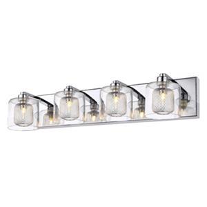 Design Living Glass 4-Light Glass Cycylinder Wall Sconce
