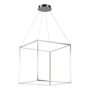 Design Living 25.5-in x 25.5-in Shiny Nickel Floating Cube LED Pendant Light