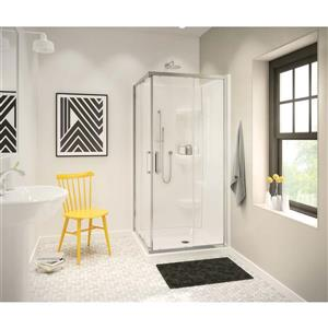 MAAX 36.13-in White Square Corner Shower Base with Center Drain