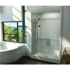 MAAX Tempo Shower - 34-in x 51-in - Center Drain - Right Seat - 3 PC