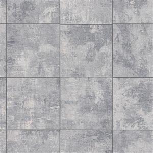 Walls Republic Weatherd Tile Grind 56 sq ft Light Grey/Indigo Unpasted Wallpaper