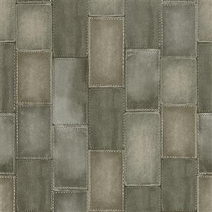 Walls Republic Grey Wood Non-Woven Paste The Wall Faux Leather Patchwork Wallpaper