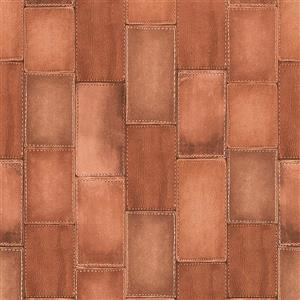 Walls Republic Brown Wood Non-Woven Paste The Wall Faux Leather Patchwork Wallpaper