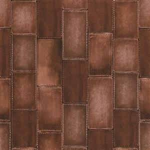Walls Republic Dark Brown Wood Non-Woven Paste The Wall Faux Leather Patchwork Wallpaper