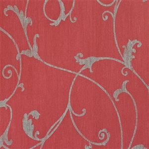 Walls Republic Red Damask Non-Woven Ornamental Floral Thistles Wallpaper
