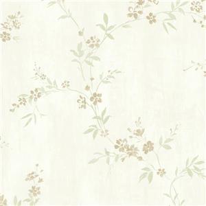 Walls Republic Mint Green Classic Floral Metallic Wallpaper