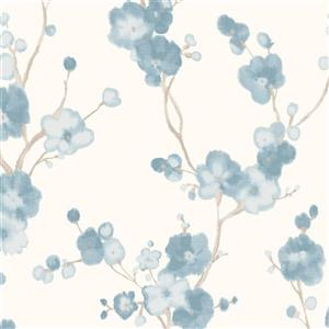 Watercolor Minimalist Blossoms Floral Wallpaper