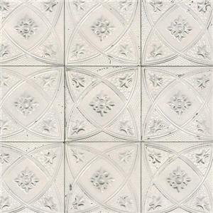 Walls Republic White/Grey Ceramic Floral Tiles Wallpaper