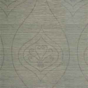 Walls Republic Grey Grasscloth Non-Woven Paste The Paper Floral Grasscloth Wallpaper