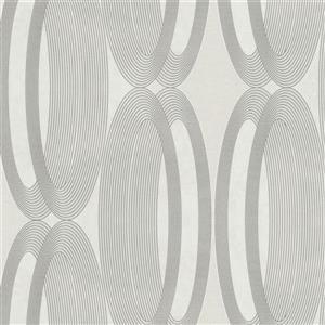 Walls Republic Metallic White/White Contemporary Metallic Wheeled Wallpaper