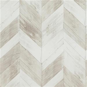 Walls Republic Wood weathered Herringbone 57 sq ft White/Grey/Brown Unpasted Wallpaper